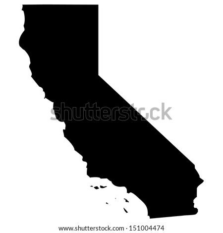 High detailed vector map - California  - stock vector