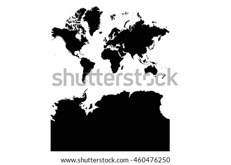 High detailed vector map continents With Antarctica - stock vector