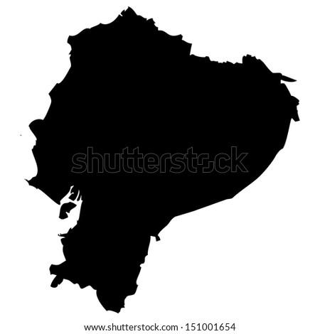 High detailed vector map - Ecuador  - stock vector