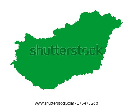 High detailed vector map - Hungary , green silhouette isolated on white background. - stock vector
