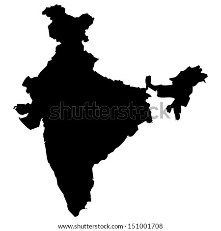 High detailed vector map - India  - stock vector