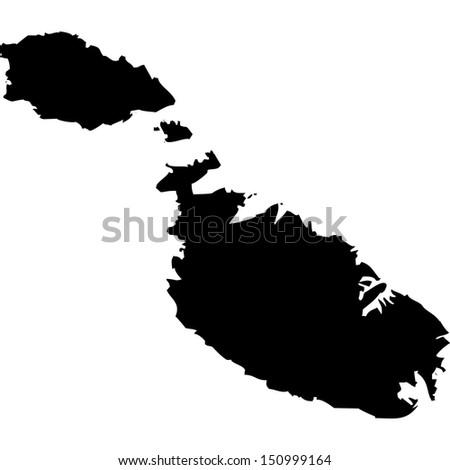 High detailed vector map - Malta  - stock vector