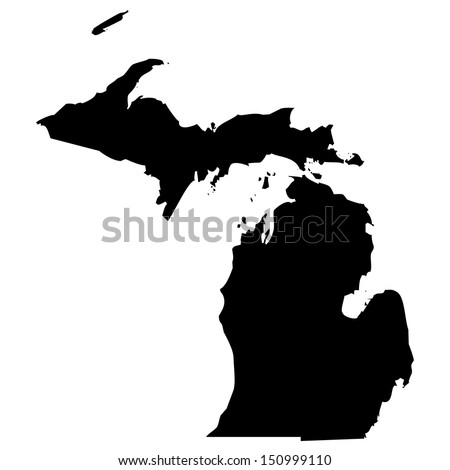 High detailed vector map - Michigan  - stock vector