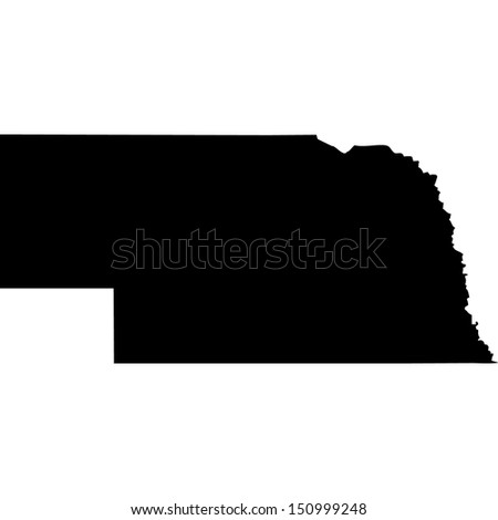 High detailed vector map - Nebraska  - stock vector