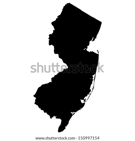 High detailed vector map - New Jersey  - stock vector