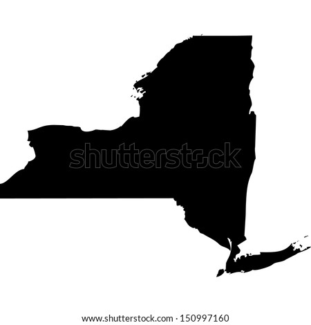 High detailed vector map - New York  - stock vector