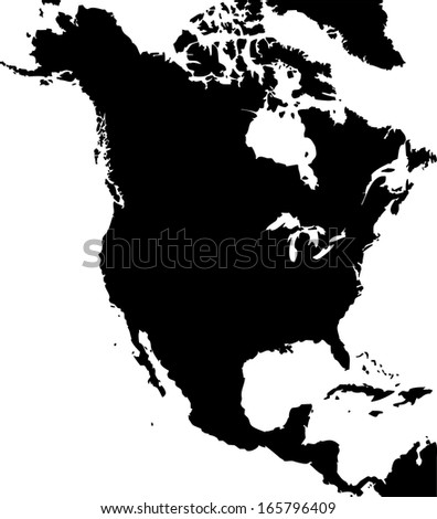 High Detailed Vector Map North America Stock Vector 165796409