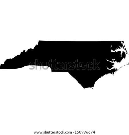 High detailed vector map - North Carolina  - stock vector