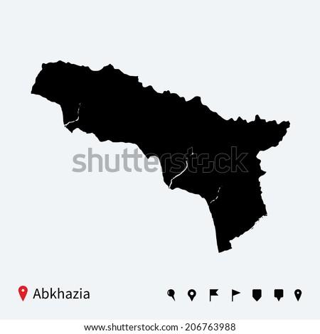 High Detailed Vector Map Abkhazia Navigation Stock Vector 206763988