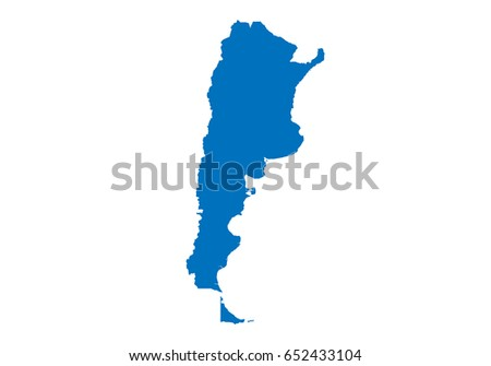 Vector Map Argentina Country Blue Color Stock Vector - Argentina map shape