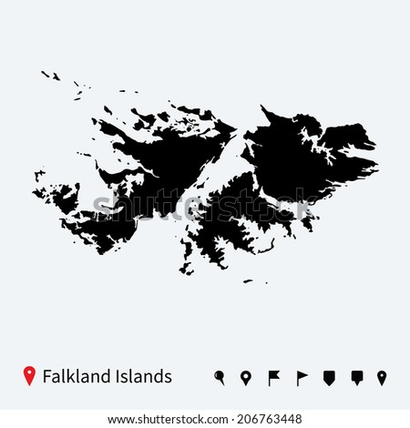 High detailed vector map of Falkland Islands with navigation pins.