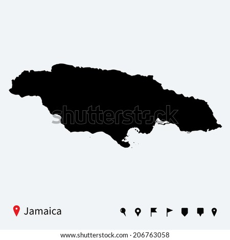 High detailed vector map of Jamaica with navigation pins. - stock vector