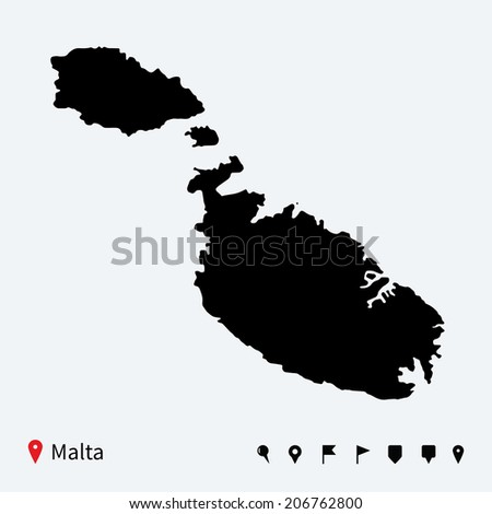 High detailed vector map of Malta with navigation pins. - stock vector