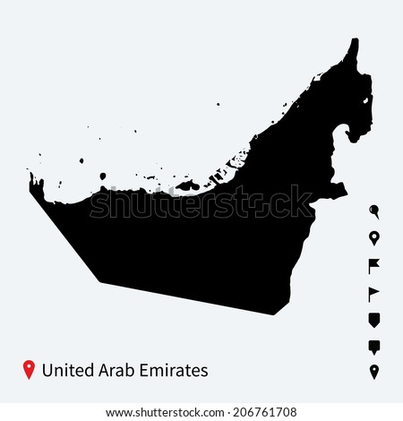 High detailed vector map of United Arab Emirates with navigation pins. - stock vector