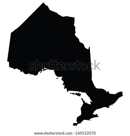 High detailed vector map - Ontario  - stock vector