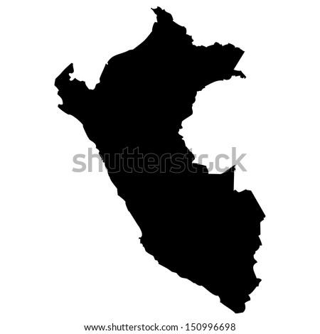 High detailed vector map - Peru  - stock vector