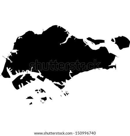 High detailed vector map - Singapore  - stock vector