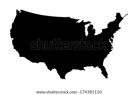 High detailed vector map - United States, black silhouette isolated on white background. - stock vector