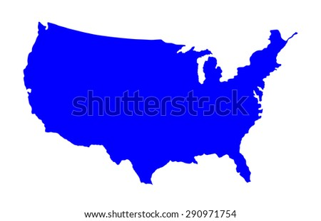 High detailed vector map - United States, blank silhouette isolated on white background.  - stock vector