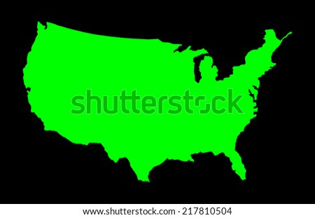 High detailed vector map - United States, green silhouette isolated on black background.  - stock vector