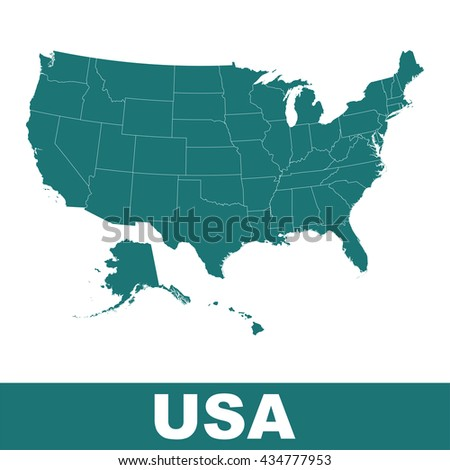 High Detailed Vector Map United States Stock Vector 434777953