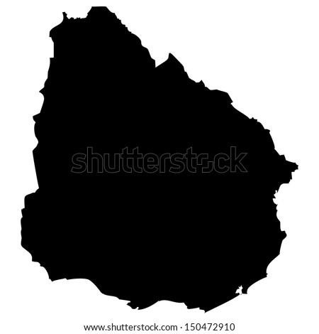 High detailed vector map - Uruguay  - stock vector