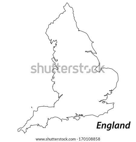 High detailed vector map with contour - England
