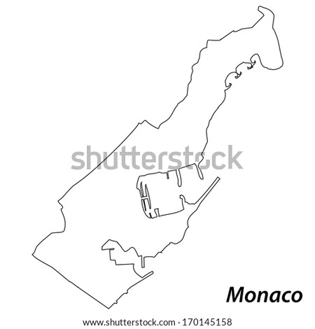 High detailed vector map with contour - Monaco