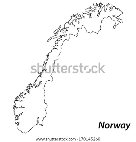 High detailed vector map with contour - Norway  - stock vector