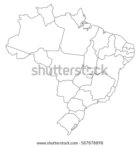 High Detailed Vector Map Countiesregionsstates Brazil Stock Vector - Brazil states map