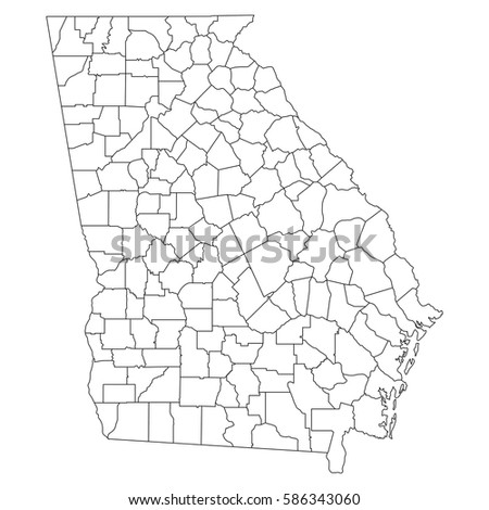 High Detailed Vector Map Countiesregionsstates Georgia Stock - Georgia map by counties