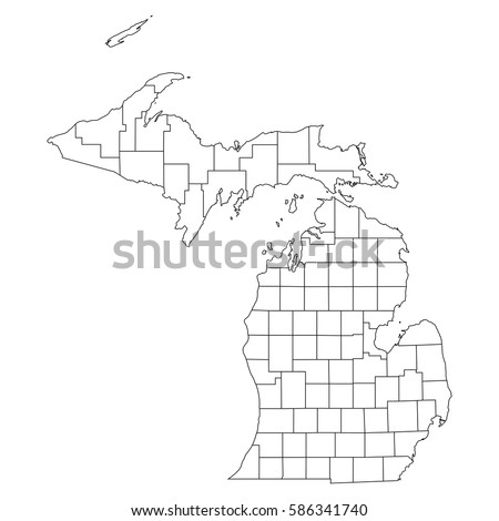 County Map Stock Images RoyaltyFree Images Vectors Shutterstock - Michigan map with counties