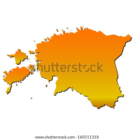 High detailed vector map with shadow in separated layer - Estonia