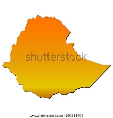 High detailed vector map with shadow in separated layer - Ethiopia  - stock vector