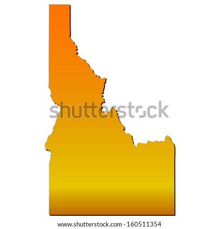 High detailed vector map with shadow in separated layer - Idaho  - stock vector