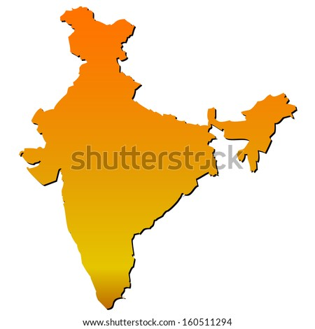 High detailed vector map with shadow in separated layer - India  - stock vector