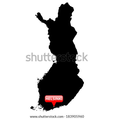 High detailed vector map with the Capital in a red bubble - Finland