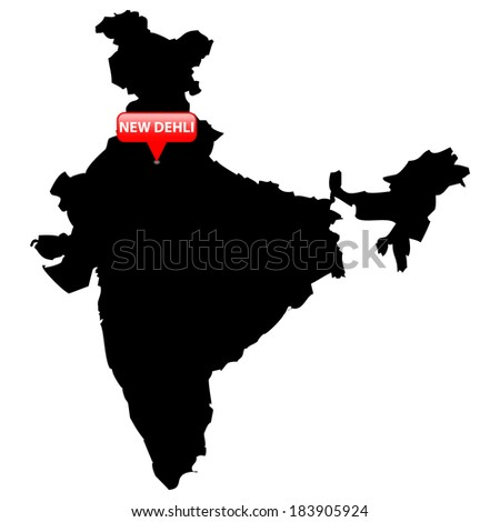 High detailed vector map with the Capital in a red bubble - India  - stock vector