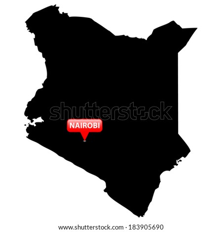 High detailed vector map with the Capital in a red bubble - Kenya  - stock vector