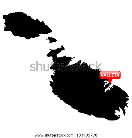 High detailed vector map with the Capital in a red bubble - Malta  - stock vector