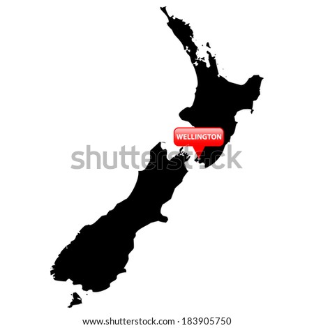 High detailed vector map with the Capital in a red bubble - New Zealand