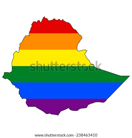 High detailed vector map with the pride flag inside - Ethiopia - stock vector