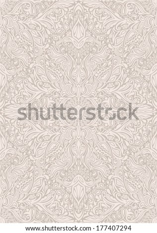 High detailed vintage seamless pattern, vector EPS-8. Gorgeous floral ornament. Original author's design, hand-drawn. - stock vector
