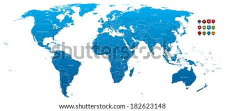 High detailed World Map - stock vector