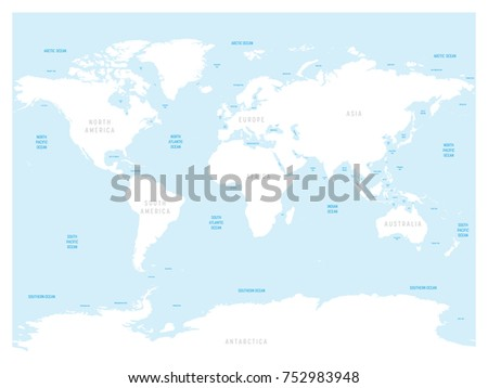 Oceanographical map world labels oceans seas stock vector high detailed world map with labels of main oceans seas gulfs bays gumiabroncs Image collections