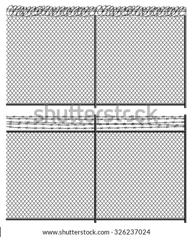 High fence mesh netting and barbed wire. Seamless horizontally if needed - stock vector
