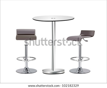 Attrayant High Glass Top Table W Chairs On White Background.