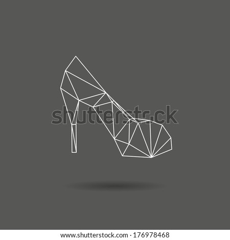 High heel shoes abstract isolated on a black backgrounds - stock vector
