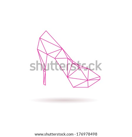 High heel shoes abstract isolated on a white backgrounds, vector illustration - stock vector
