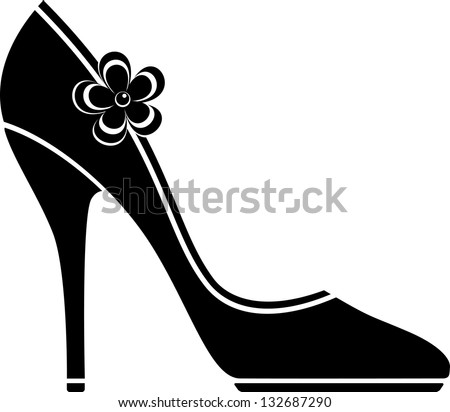 High heel shoes (silhouette) - stock vector